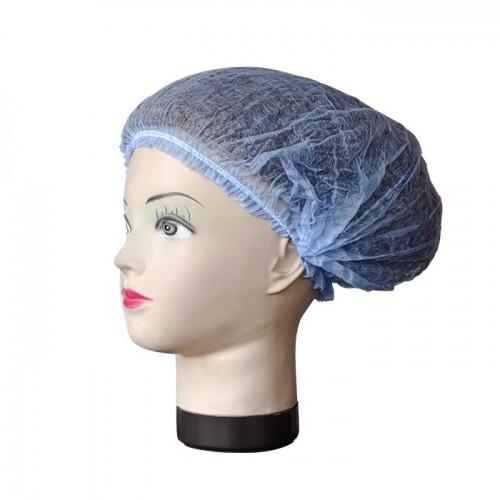 Синьо боне от нетъкан текстил, 52 см - 100 бр.