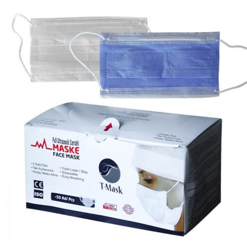 Трислойни медицински маски в кутия от 50 броя, T-mask