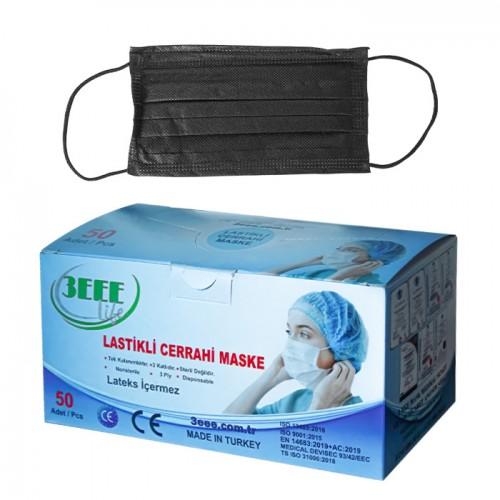 Трислойни медицински маски в кутия от 50 броя, 3EEE - Черен цвят