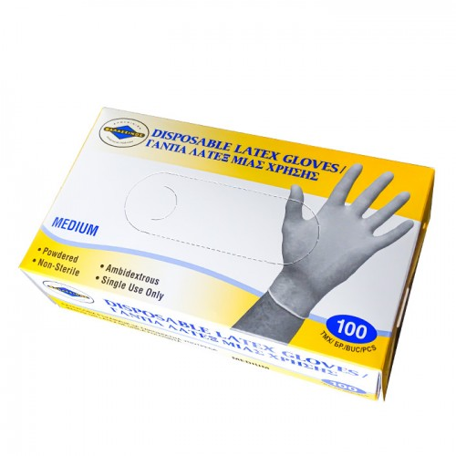 Еднократни ръкавици от латекс с талк, 100 бр.
