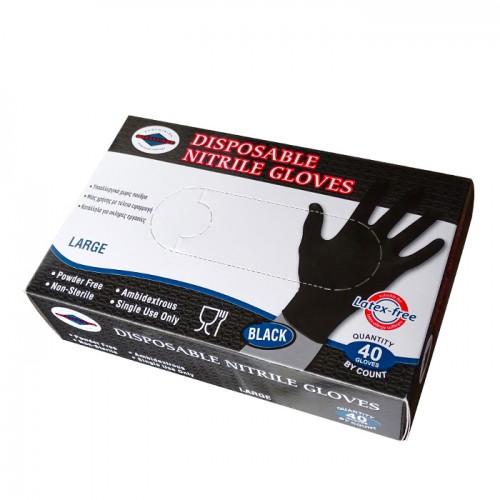 Еднократни черни ръкавици от нитрил, 40 броя