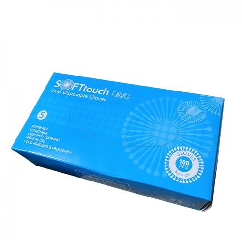 Soft touch нестерилни ръкавици от син винил 100 броя S размер